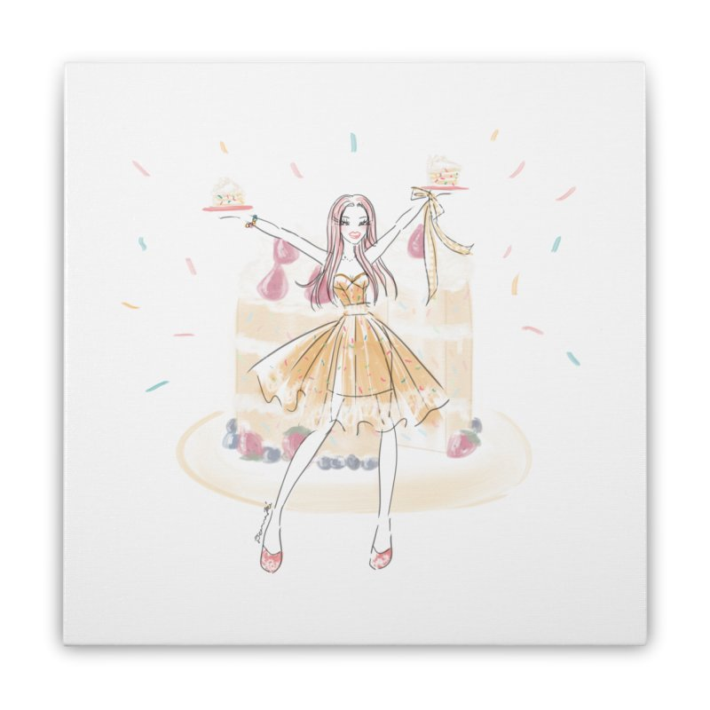 Funfetti Cake Girl Home Stretched Canvas by Deanna Kei's Artist Shop