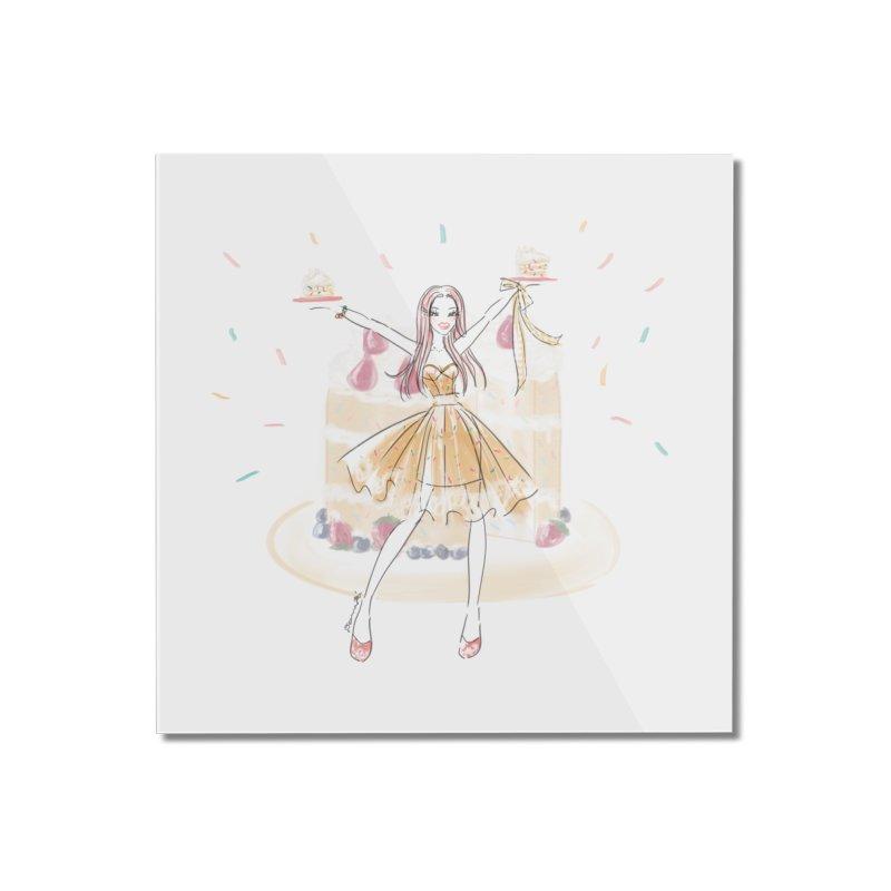 Funfetti Cake Girl Home Mounted Acrylic Print by Deanna Kei's Artist Shop
