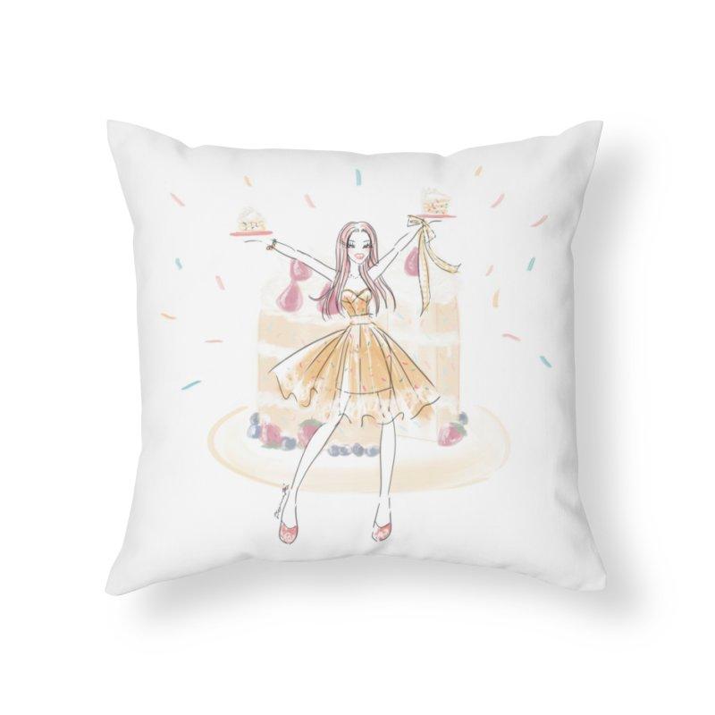 Funfetti Cake Girl Home Throw Pillow by Deanna Kei's Artist Shop