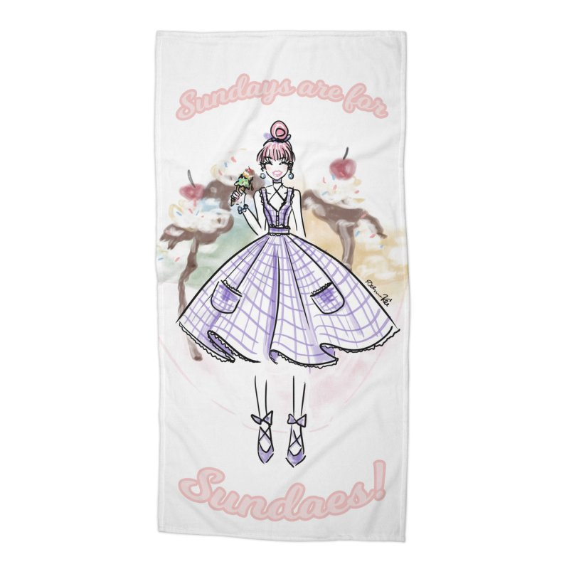 Sundays are for Sundaes Accessories Beach Towel by Deanna Kei's Artist Shop