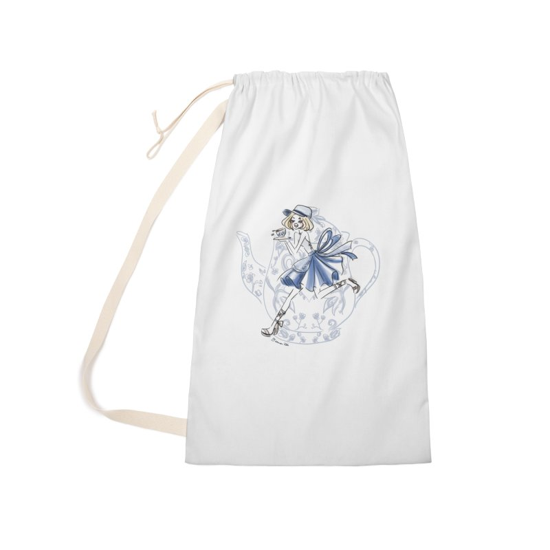 Tea Time Accessories Laundry Bag Bag by Deanna Kei's Artist Shop