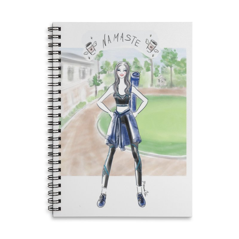 namaste yoga girl Accessories Lined Spiral Notebook by Deanna Kei's Artist Shop