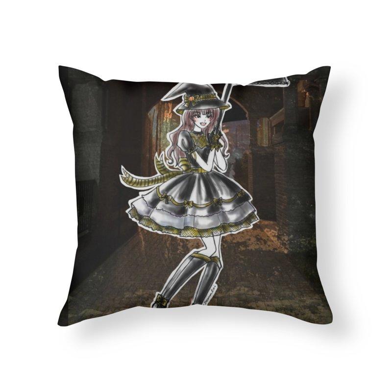 Yellow Hufflpuff Halloween Witch Home Throw Pillow by Deanna Kei's Artist Shop