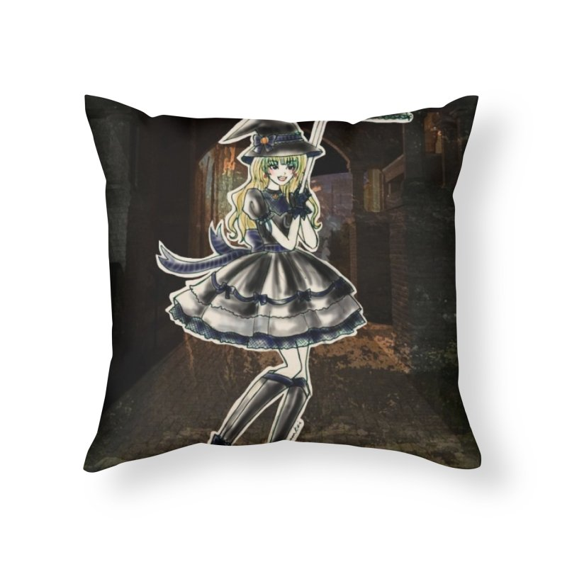 Blue Ravenclw Halloween Witch Home Throw Pillow by Deanna Kei's Artist Shop