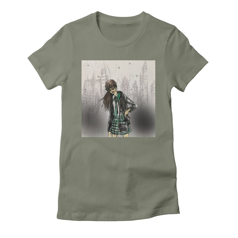 Slythern Wizardy Student Women's Fitted T-Shirt by Deanna Kei's Artist Shop