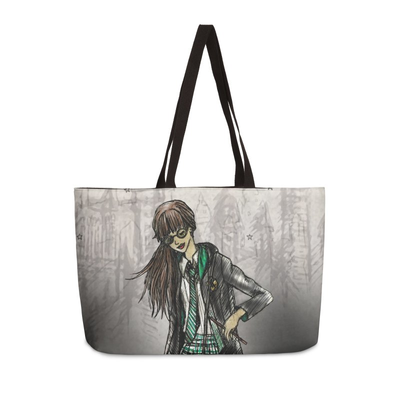 Slythern Wizardy Student Accessories Weekender Bag Bag by Deanna Kei's Artist Shop