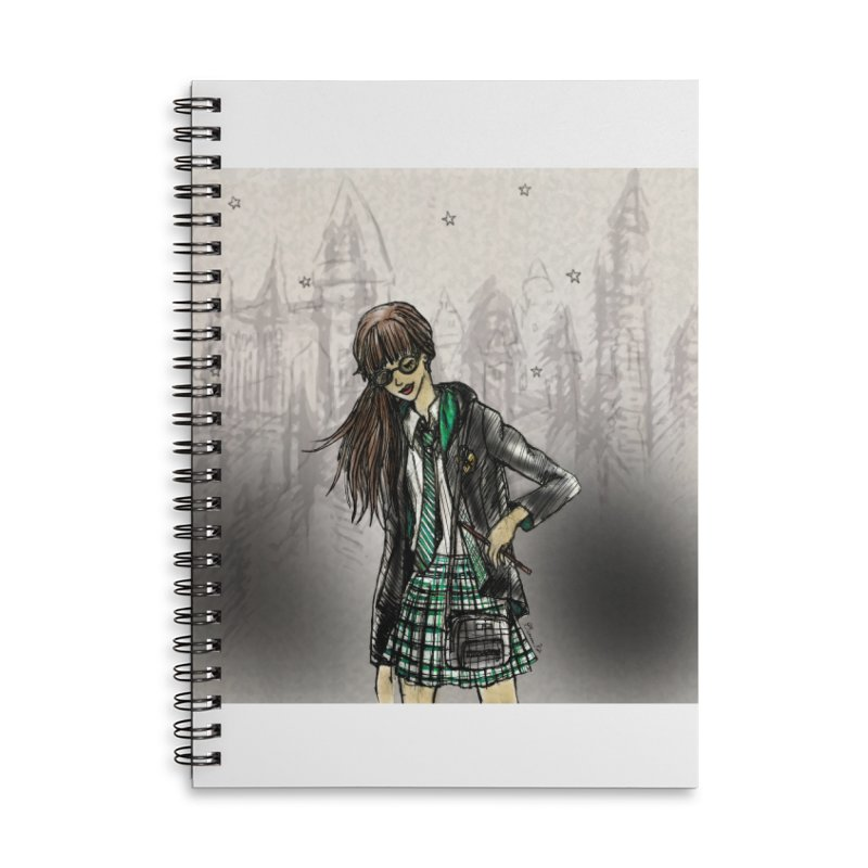 Slythern Wizardy Student Accessories Lined Spiral Notebook by Deanna Kei's Artist Shop