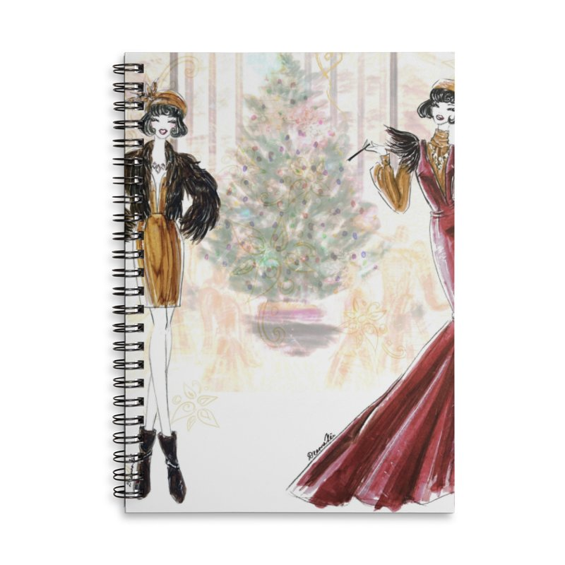 Merry Stylish Christmas Accessories Lined Spiral Notebook by Deanna Kei's Artist Shop