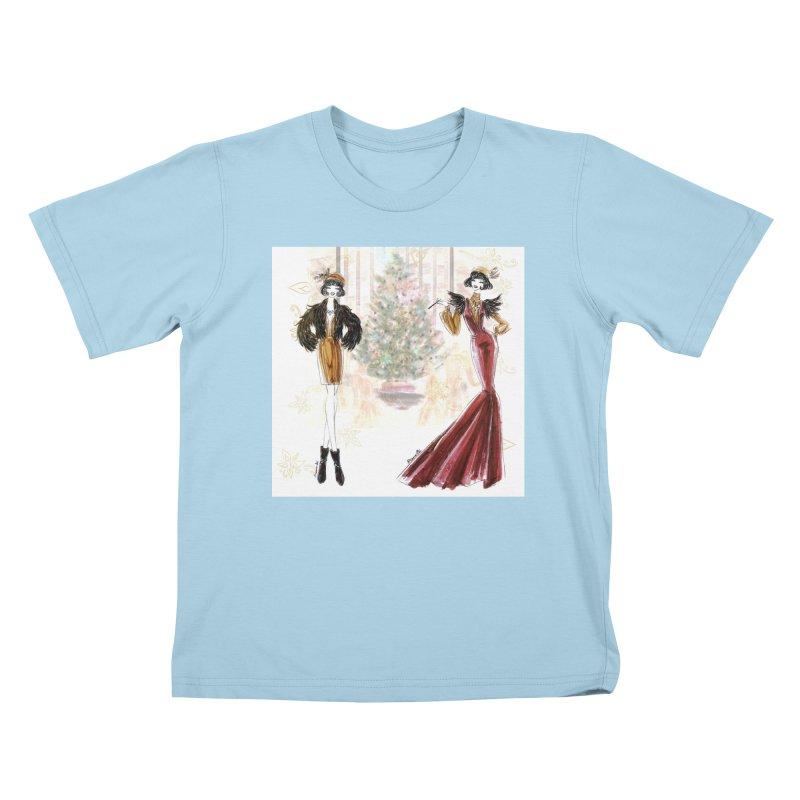 Merry Stylish Christmas Kids T-Shirt by Deanna Kei's Artist Shop