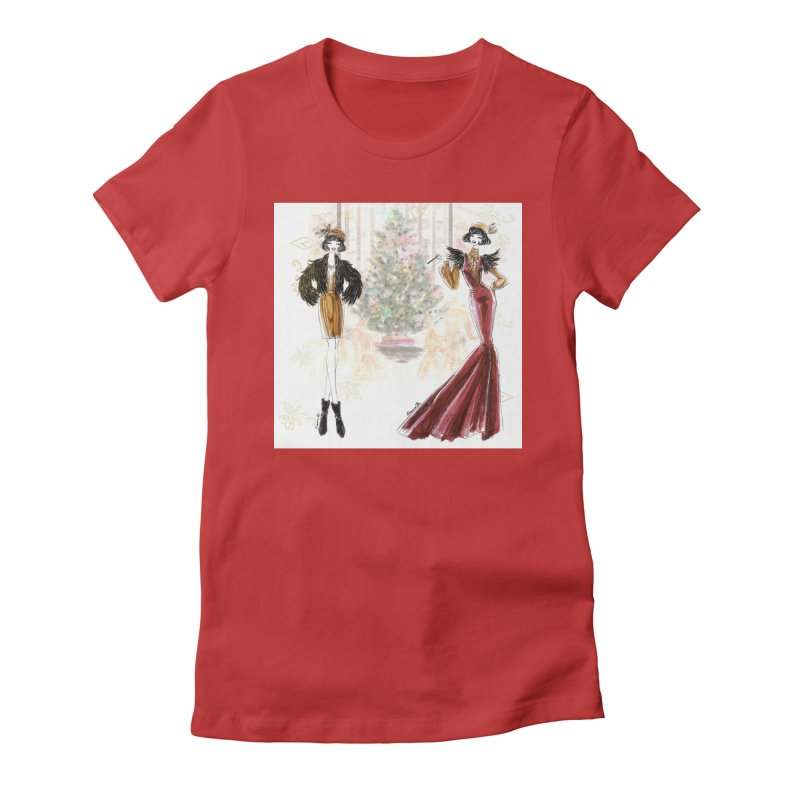 Merry Stylish Christmas Women's Fitted T-Shirt by Deanna Kei's Artist Shop