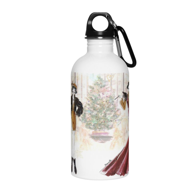 Merry Stylish Christmas Accessories Water Bottle by Deanna Kei's Artist Shop