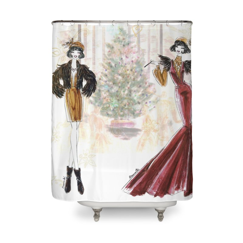 Merry Stylish Christmas Home Shower Curtain by Deanna Kei's Artist Shop