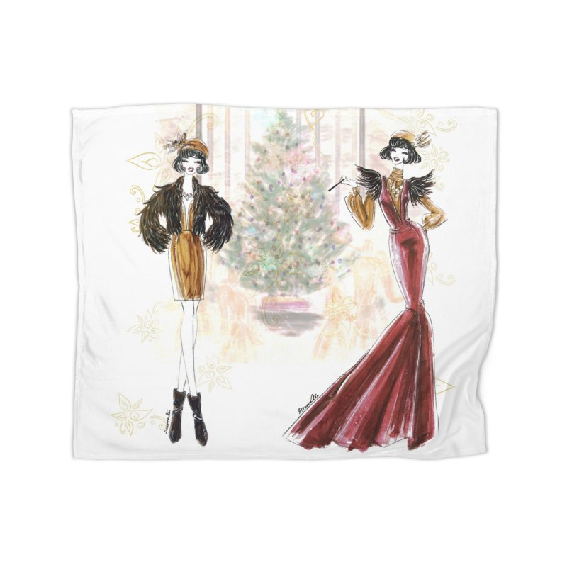 Merry Stylish Christmas Home Fleece Blanket Blanket by Deanna Kei's Artist Shop