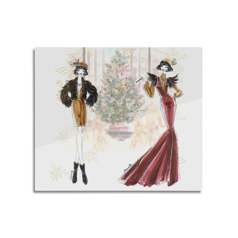 Merry Stylish Christmas Home Mounted Aluminum Print by Deanna Kei's Artist Shop