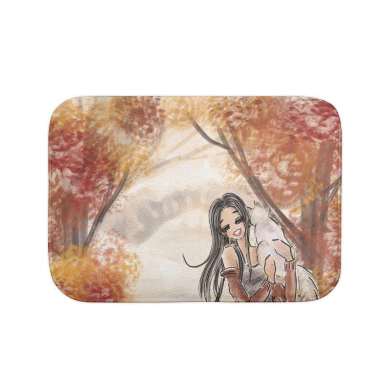 Autumn Stroll with Pets Home Bath Mat by Deanna Kei's Artist Shop
