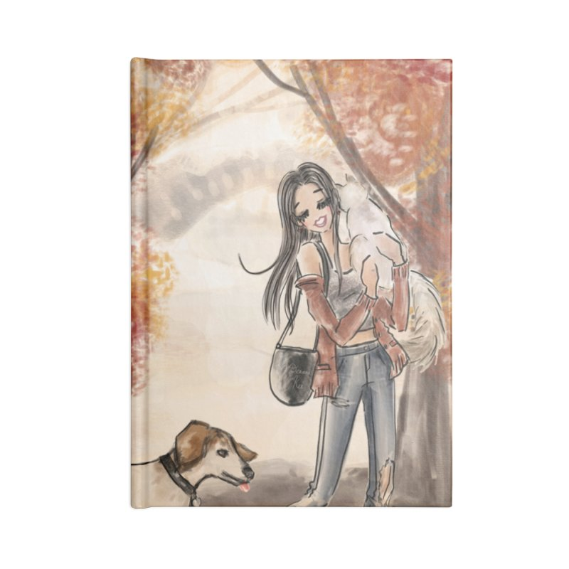 Autumn Stroll with Pets Accessories Notebook by Deanna Kei's Artist Shop