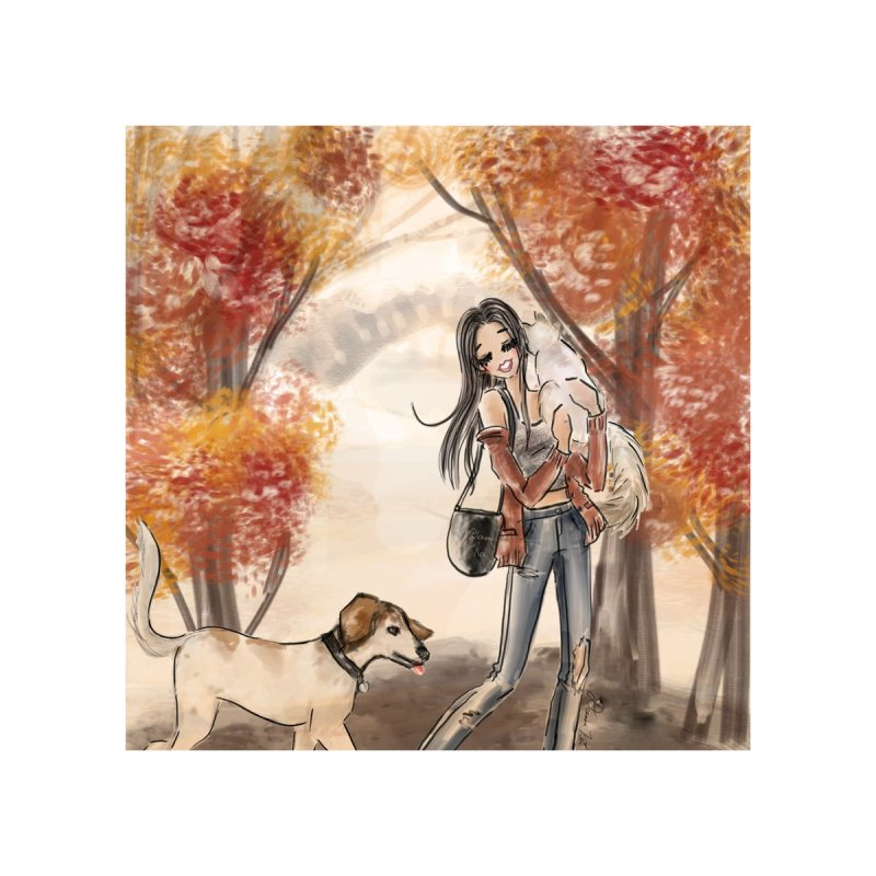 Autumn Stroll with Pets by Deanna Kei's Artist Shop
