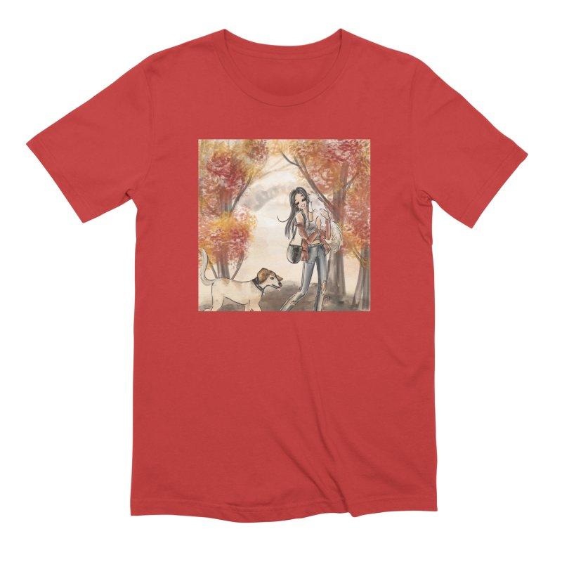 Autumn Stroll with Pets Men's Extra Soft T-Shirt by Deanna Kei's Artist Shop