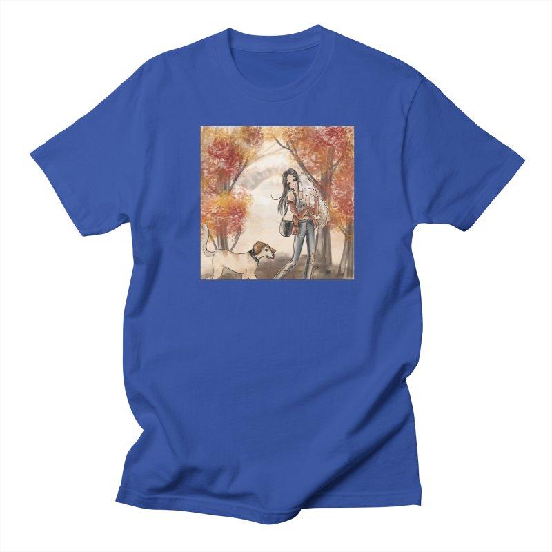 Autumn Stroll with Pets Men's T-Shirt by Deanna Kei's Artist Shop