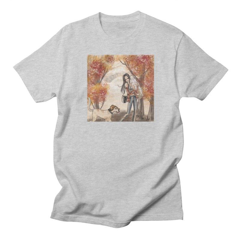 Autumn Stroll with Pets Men's Regular T-Shirt by Deanna Kei's Artist Shop