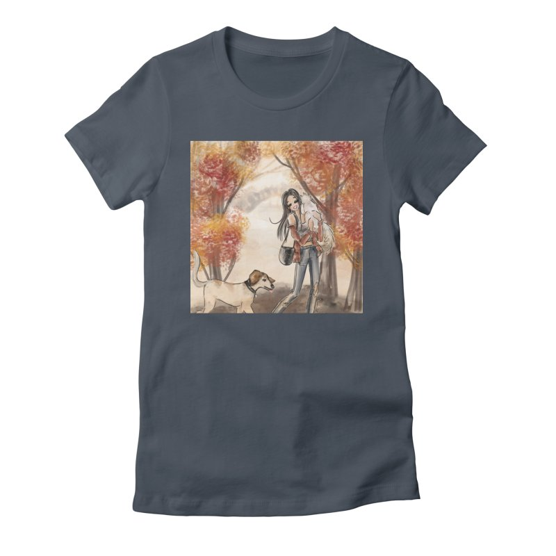 Autumn Stroll with Pets Women's Fitted T-Shirt by Deanna Kei's Artist Shop