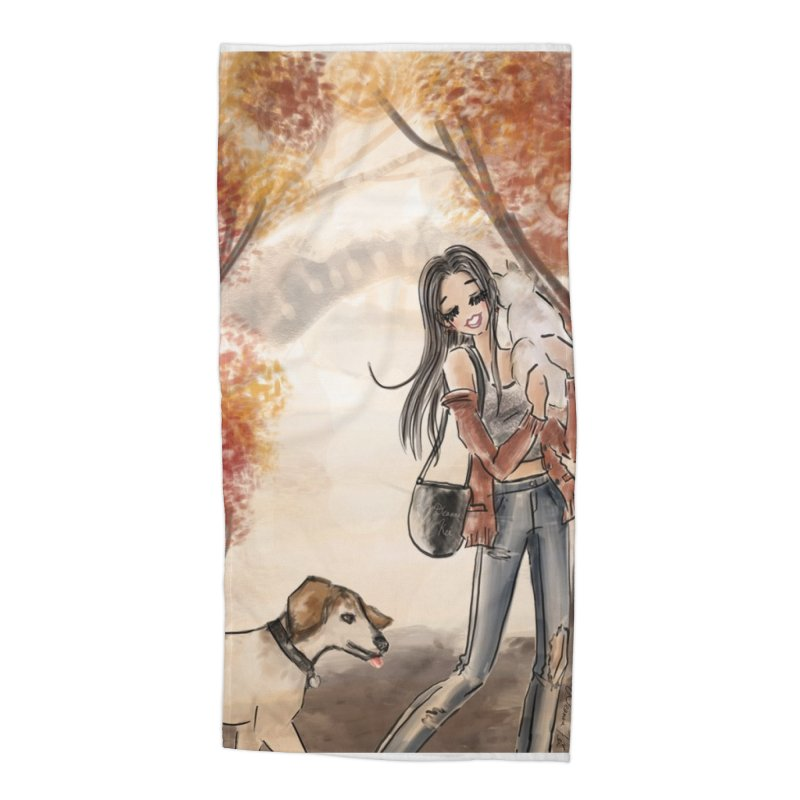 Autumn Stroll with Pets Accessories Beach Towel by Deanna Kei's Artist Shop
