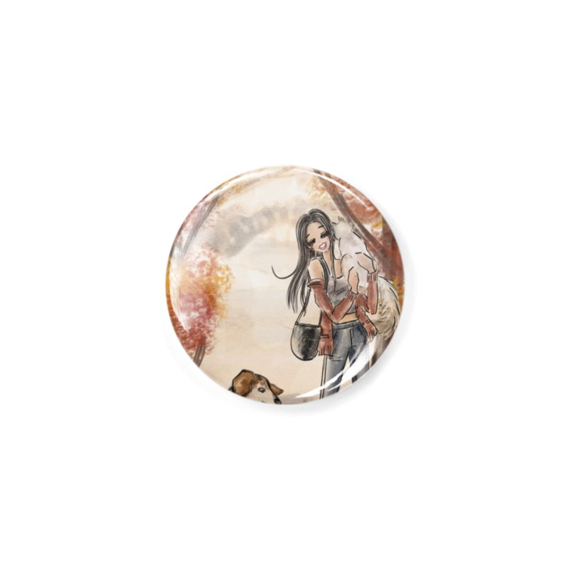 Autumn Stroll with Pets Accessories Button by Deanna Kei's Artist Shop