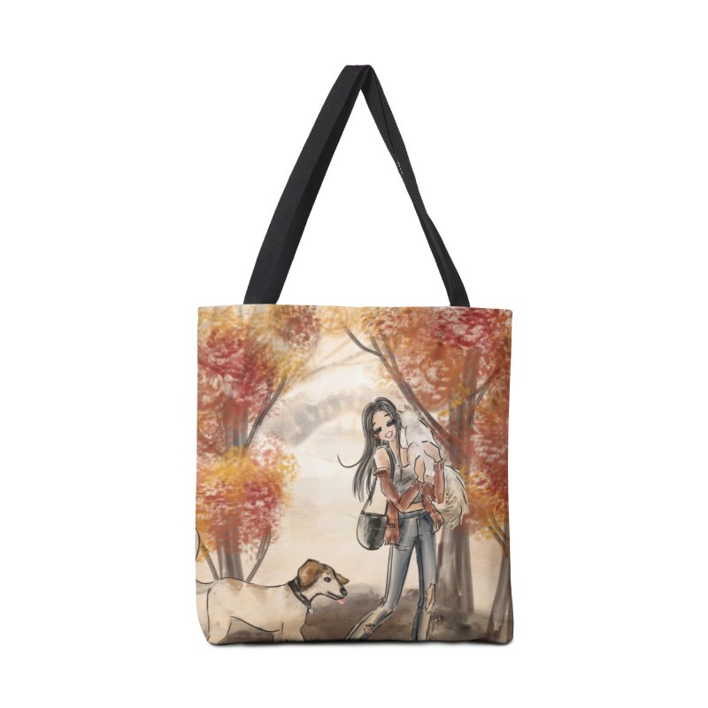 Autumn Stroll with Pets Accessories Tote Bag Bag by Deanna Kei's Artist Shop