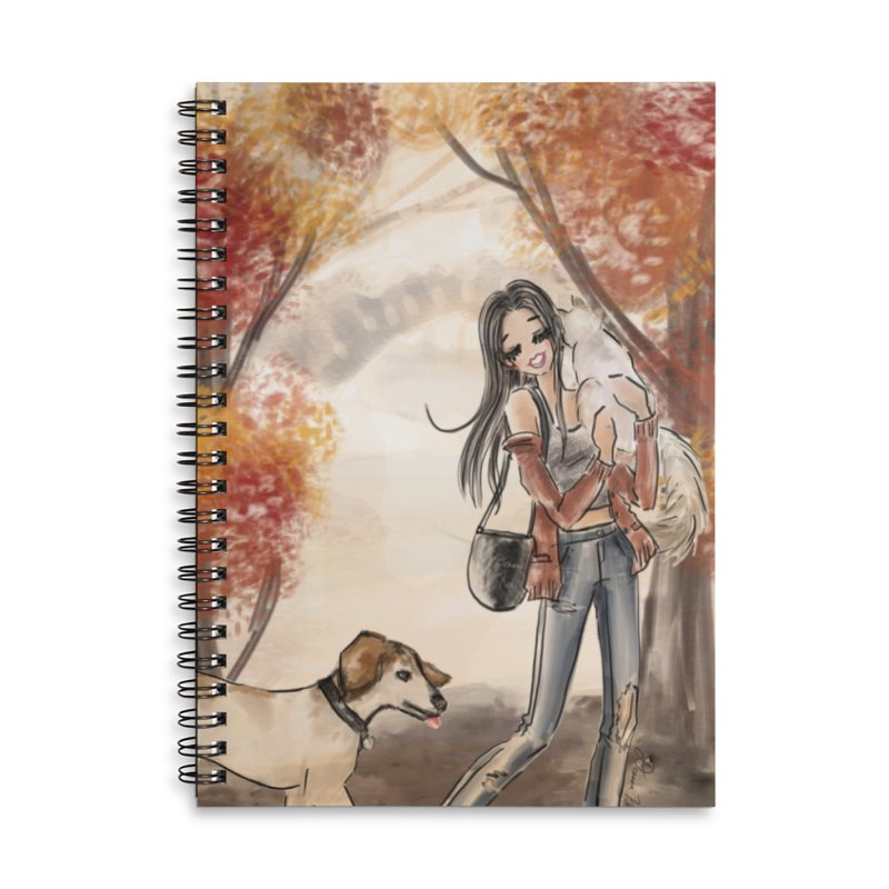 Autumn Stroll with Pets Accessories Lined Spiral Notebook by Deanna Kei's Artist Shop