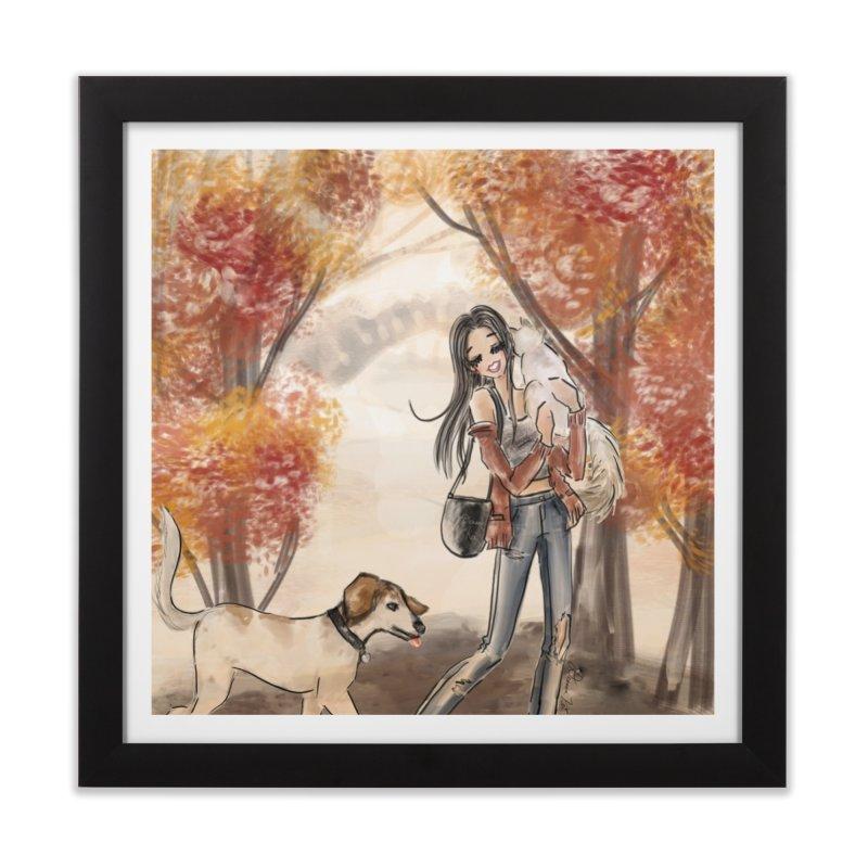 Autumn Stroll with Pets Home Framed Fine Art Print by Deanna Kei's Artist Shop