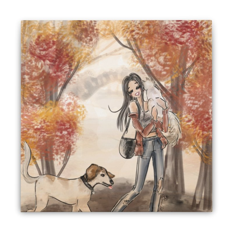 Autumn Stroll with Pets Home Stretched Canvas by Deanna Kei's Artist Shop