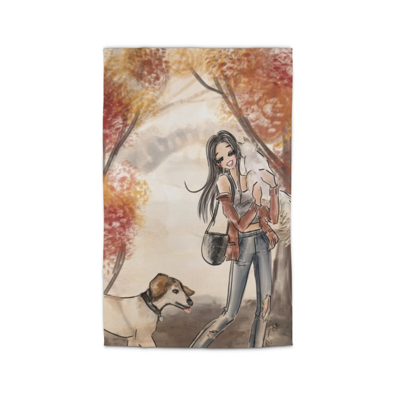 Autumn Stroll with Pets Home Rug by Deanna Kei's Artist Shop