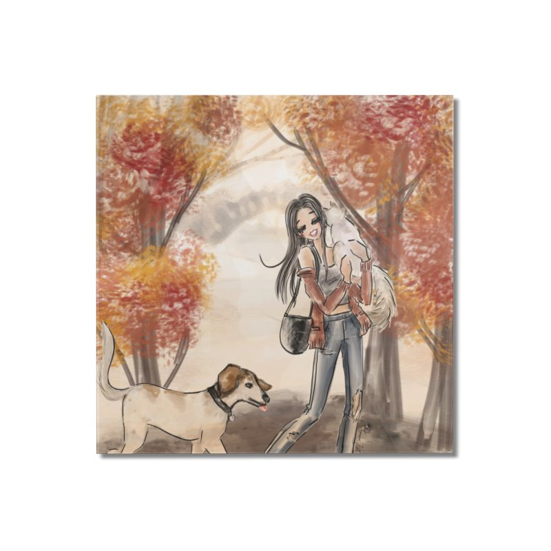 Autumn Stroll with Pets Home Mounted Acrylic Print by Deanna Kei's Artist Shop
