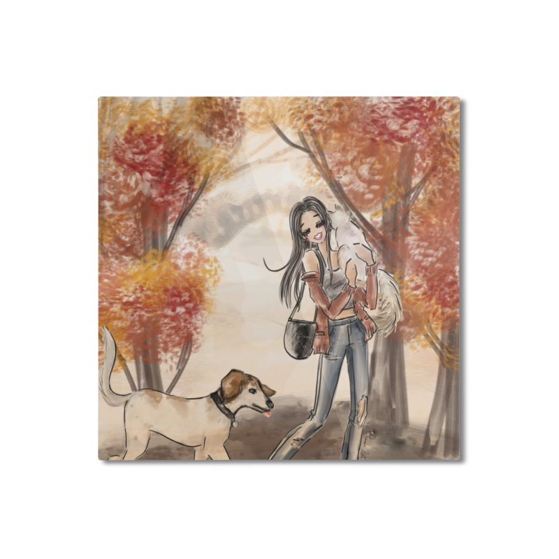 Autumn Stroll with Pets Home Mounted Aluminum Print by Deanna Kei's Artist Shop