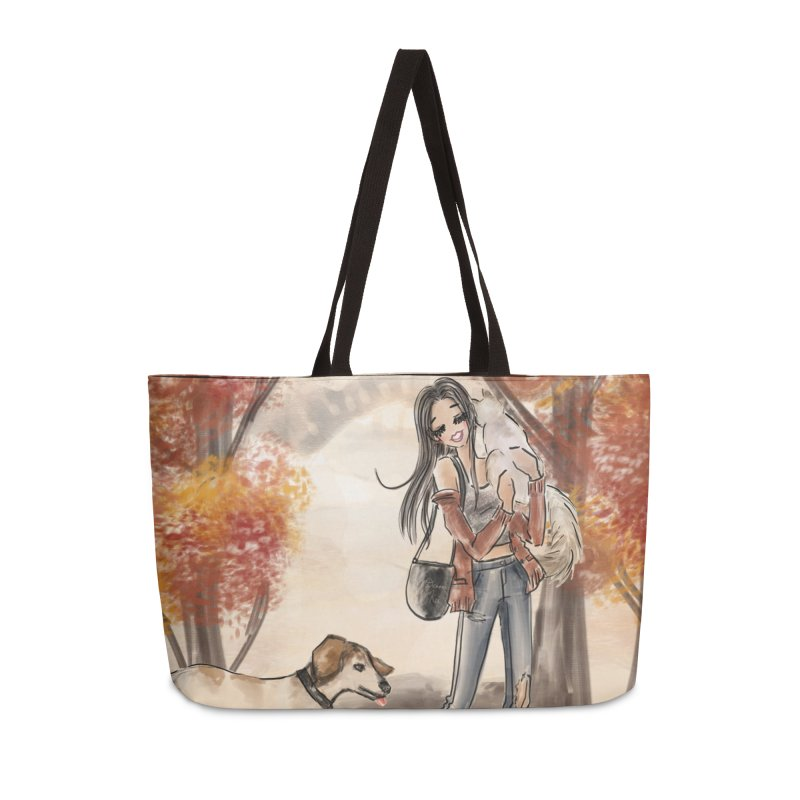 Autumn Stroll with Pets in Weekender Bag by Deanna Kei's Artist Shop