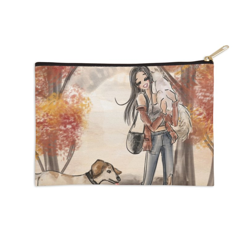 Autumn Stroll with Pets Accessories Zip Pouch by Deanna Kei's Artist Shop