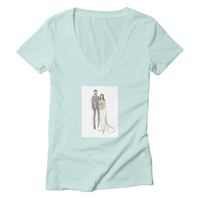 Custom Wedding Women's Deep V-Neck V-Neck by Deanna Kei's Artist Shop
