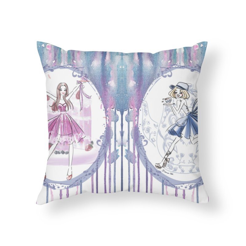 Springtime Tea Party Home Throw Pillow by Deanna Kei's Artist Shop