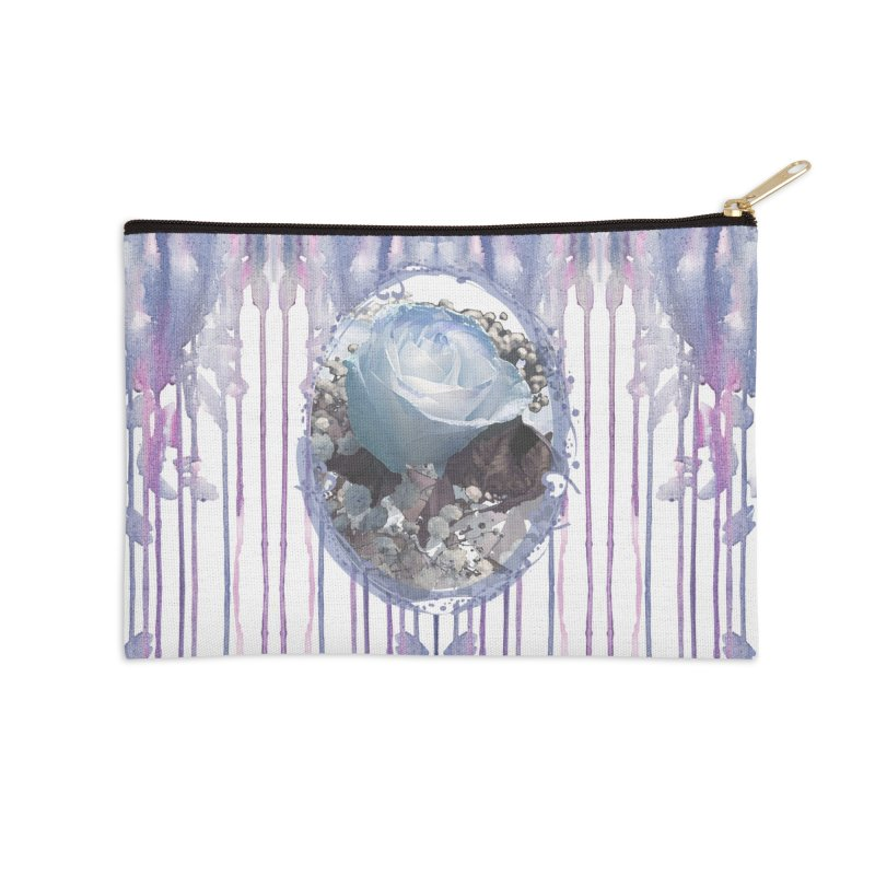 Blue Spring Rose Accessories Zip Pouch by Deanna Kei's Artist Shop