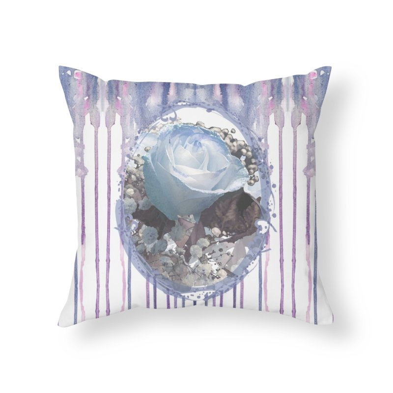 Blue Spring Rose Home Throw Pillow by Deanna Kei's Artist Shop
