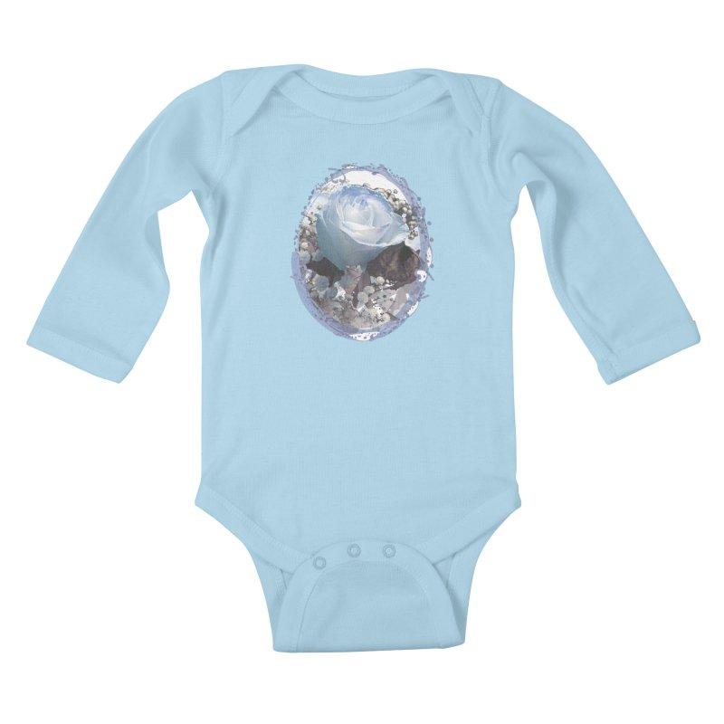 Blue Spring Rose Kids Baby Longsleeve Bodysuit by Deanna Kei's Artist Shop