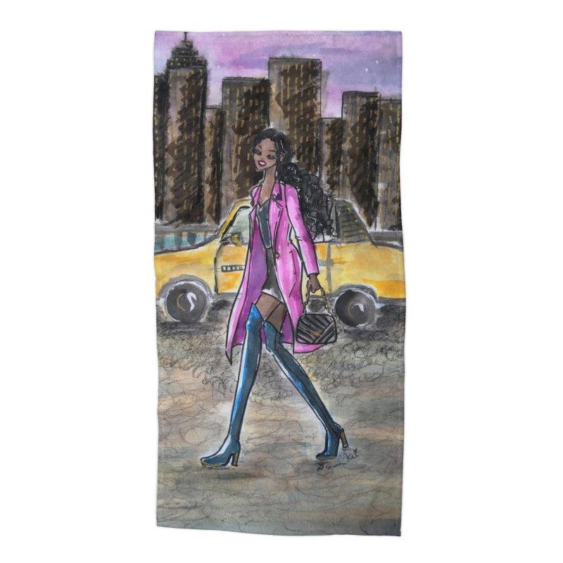 NY Girl - Taxi - Dusk Accessories Beach Towel by Deanna Kei's Artist Shop