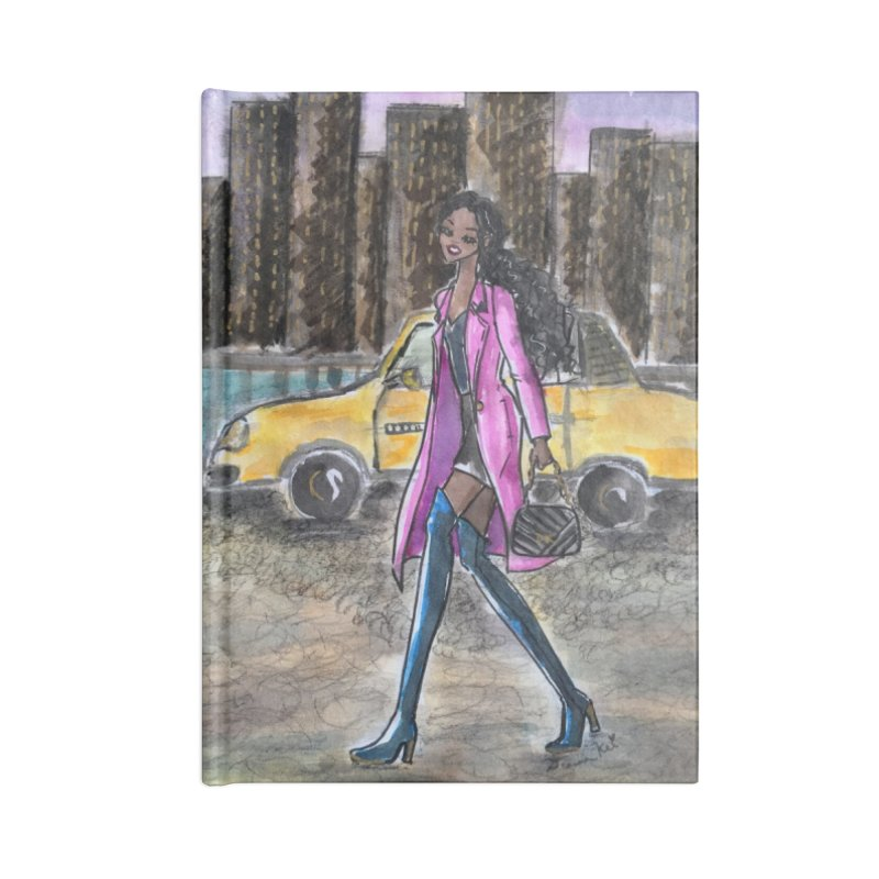NY Girl - Taxi - Dusk Accessories Lined Journal Notebook by Deanna Kei's Artist Shop