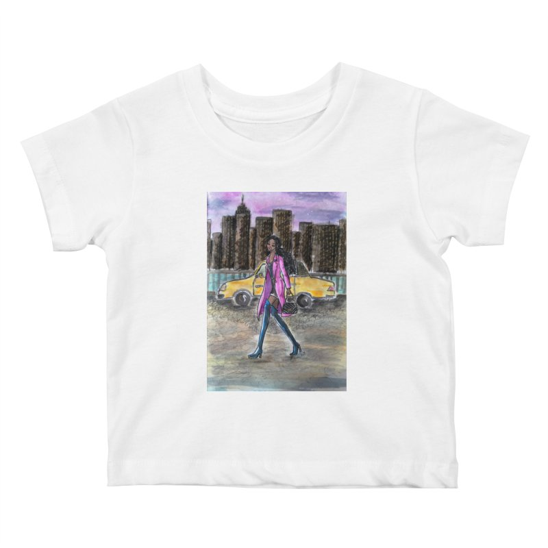 NY Girl - Taxi - Dusk Kids Baby T-Shirt by Deanna Kei's Artist Shop