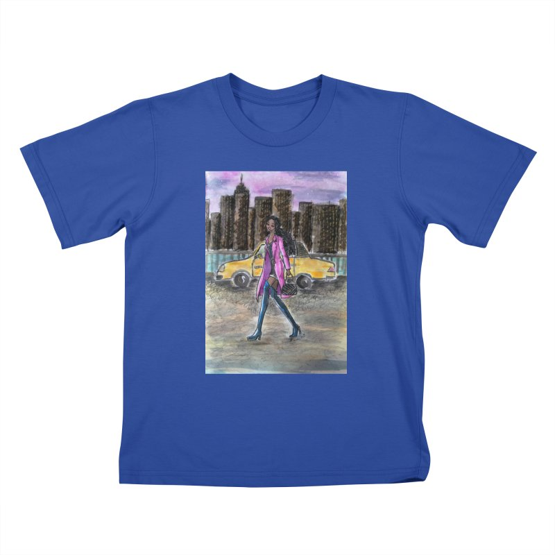 NY Girl - Taxi - Dusk Kids T-Shirt by Deanna Kei's Artist Shop