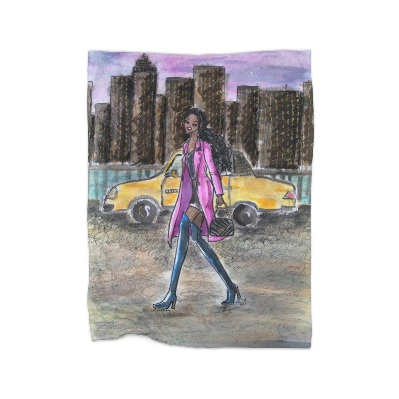 NY Girl - Taxi - Dusk Home Fleece Blanket Blanket by Deanna Kei's Artist Shop
