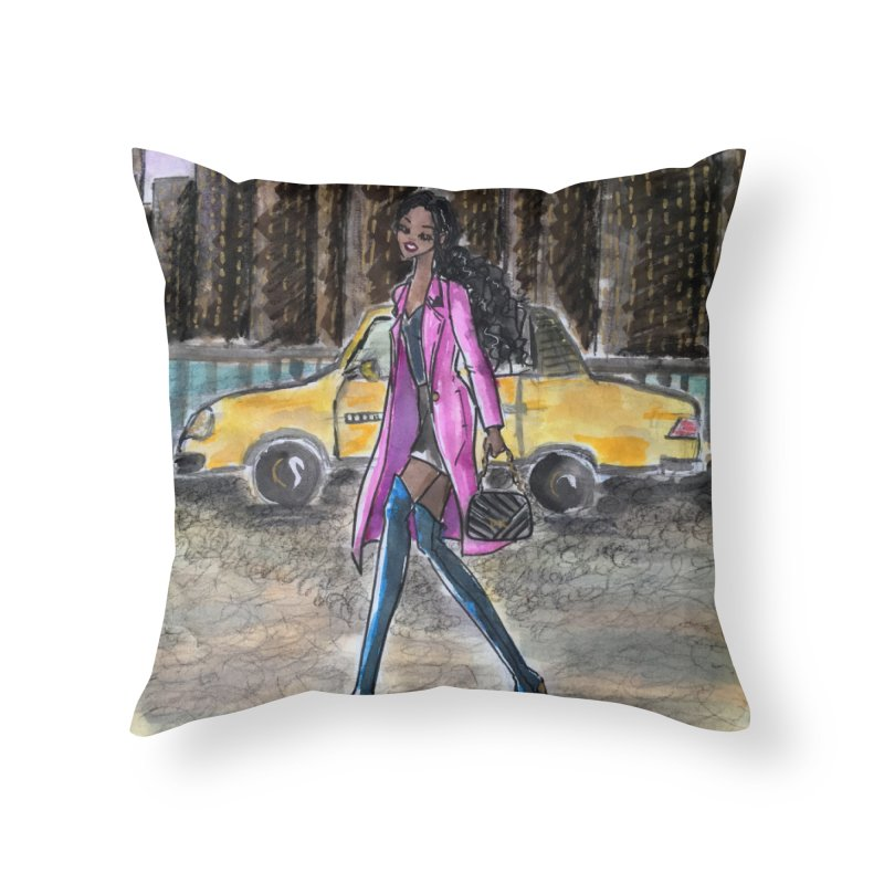 NY Girl - Taxi - Dusk Home Throw Pillow by Deanna Kei's Artist Shop