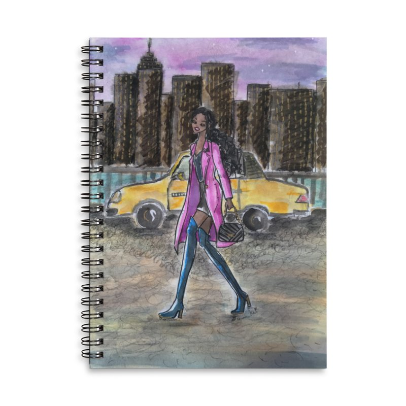 NY Girl - Taxi - Dusk Accessories Lined Spiral Notebook by Deanna Kei's Artist Shop