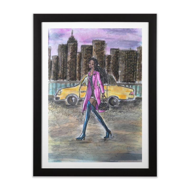 NY Girl - Taxi - Dusk Home Framed Fine Art Print by Deanna Kei's Artist Shop