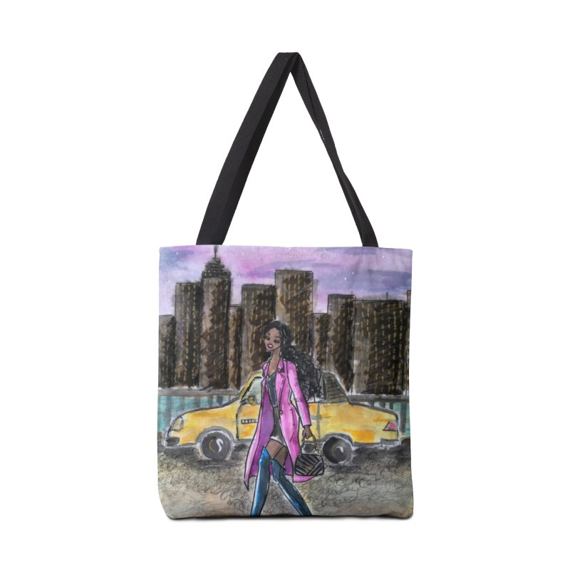 NY Girl - Taxi - Dusk Accessories Tote Bag Bag by Deanna Kei's Artist Shop